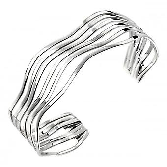 Elements Silver Open Multi Wave Bangle - Silver