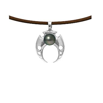 Tribal man leather necklace, Pearl of Tahiti and Silver 925