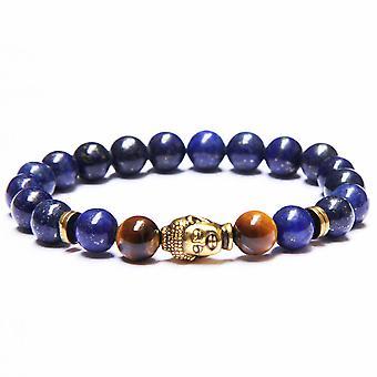 Blue Lapis Buddha Bracelet With 8mm Beads