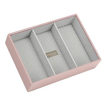Soft Pink & Grey Spot Classic Deep 3 Section Jewellery Tray