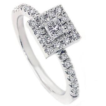 1 / 2ct diamante de Corte Princesa diamante anillo solitarios 14K oro blanco