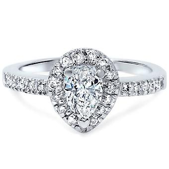 1 / 2ct Pear Shape Halo Diamond Engagement Ring 14K White Gold
