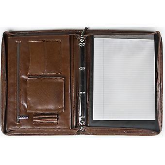 San Babila Grain Leather Zipped Folio A4 Conference Folder Organizer Presentation Portfolio