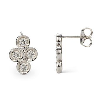 Forever Classic 3.25mm Round Moissanite Clover Drop Earrings, 1.04cttw DEW