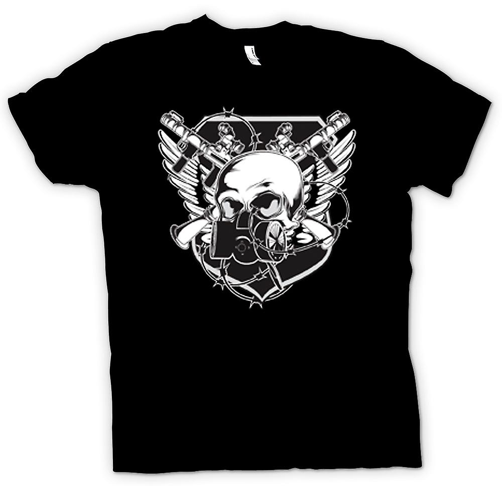 Kids T-shirt - Skull With Gas Mask & Crossed Guns Design
