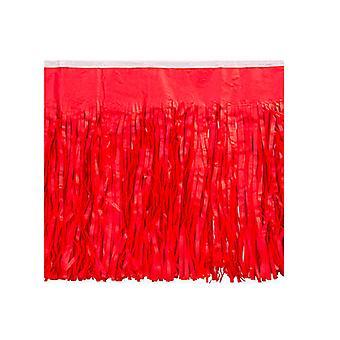 Röd vävnad fransade gardiner