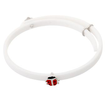 Orphelia Silver 925 Kids Bracelet Rubber Ladybird Adjustable  ZA-7156/WHITE