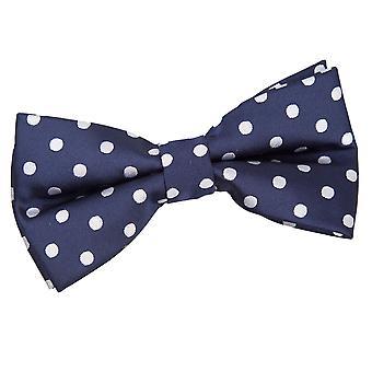 Marineblauwe Polka Dot vooraf gebonden vlinderdas