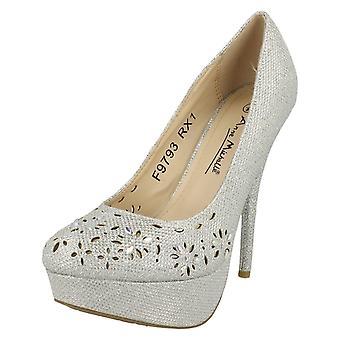 Ladies Anne Michelle Glitter Blocked Heels