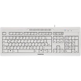 CHERRY Stream 3.0 USB-Tastatur ergonomisch grau, spritzwassergeschützt