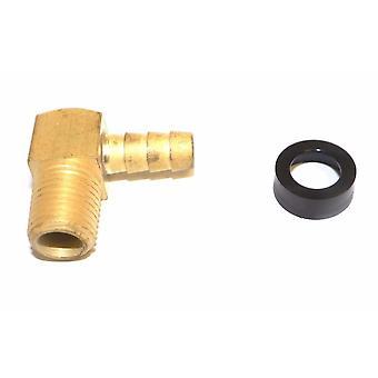 Big A Service Line 3-73125 1/8 NPTF Male Thread, 5/16 Inch Hose Barb Brass Elbow