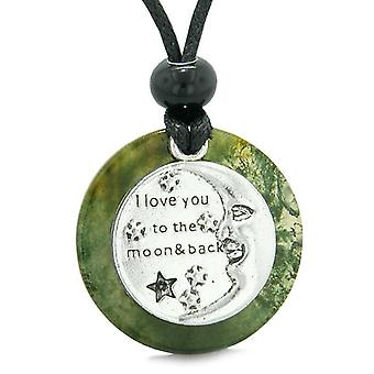 I Love You to the Moon and Back Magic Good Luck Medallion Amulet Green Moss Agate Necklace