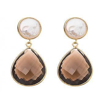 Gemshine - ladies - earrings - 925 Silver gold-plated - beads - smoky Quartz - White - Brown - 4 cm
