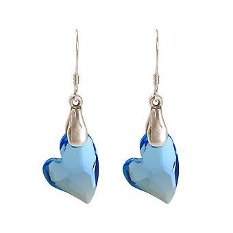 Gemshine - dames - oorbellen - 925 zilveren - hart - ELEMENTS® - 3,5 cm met SWAROVSKI blauw - MADE