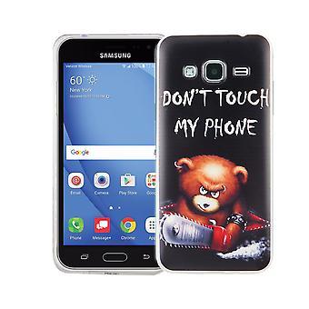 Handy Hülle für Samsung Galaxy J3 Cover Case Schutz Tasche Motiv Slim Silikon TPU Schriftzug Bär mit Kettensäge