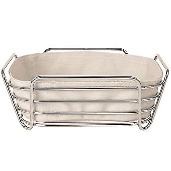 Bread basket large steel wire chrome cotton insert natural beige