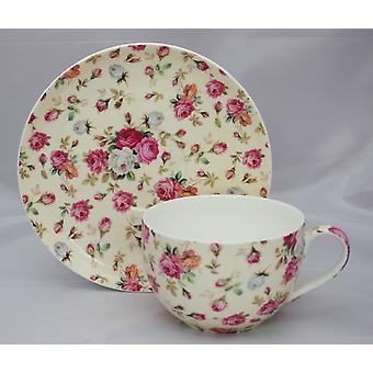 English Bone China Large Cup & Saucer Yellow Roses