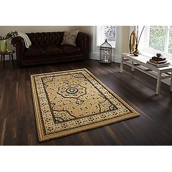 Heritage 4400 Beige A traditional central medallion in beige, surrounded by ivory tones on a beige background and beige border Runner Rugs Traditional Rugs