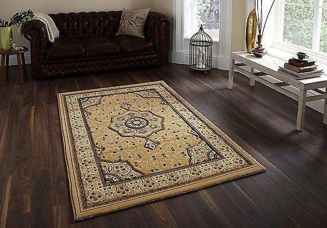 Heritage 4400 Beige A traditional central medallion in beige, surrounded by ivory tones on a beige background and beige border Rectangle Rugs Traditional Rugs
