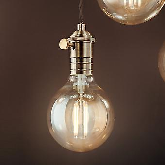 Ideal Lux Doc Switched Pendant Light With Black Flex And Burnished Metal