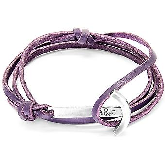 Anchor and Crew Clipper Silver and Leather Bracelet - Grape Purple