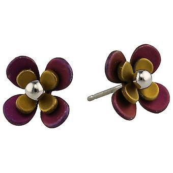 Ti2 tytanu dwukrotnie cztery płatek kulki Kwiat kolczyki - Brown