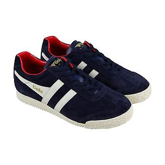 Gola Harrier Suede Mens Blue Suede Lace Up Sneakers Shoes
