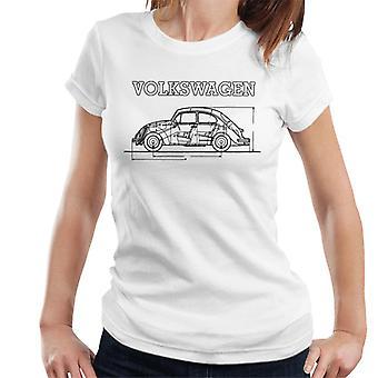 Official Volkswagen Beetle Black Technical Diagram Women's T-Shirt