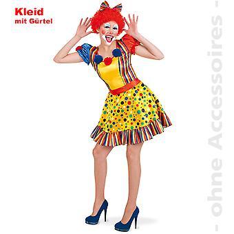 Clown kostym damer Clownlady färgglada Harlequin Lady kostym