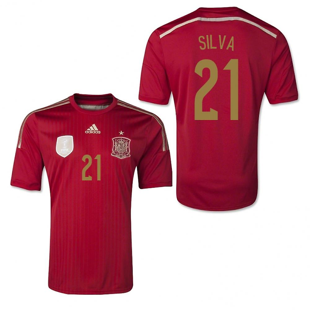 2014-15 Spain World Cup Home Shirt (Silva 21)