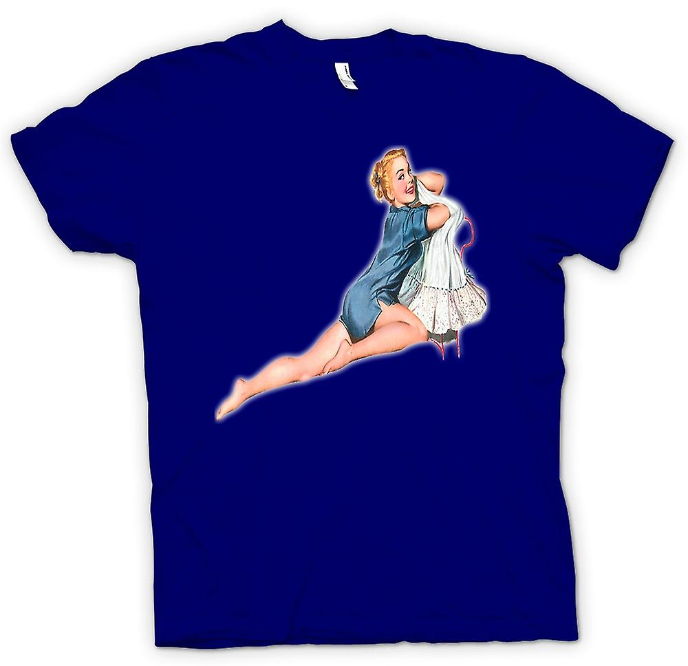 Mens T-shirt - Blue Nightie - Vintage Pinup