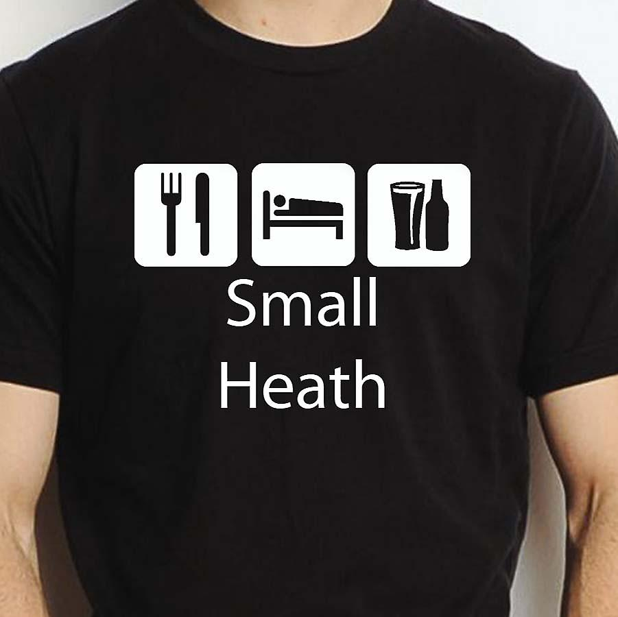 Eat Sleep Drink Smallheath Black Hand Printed T shirt Smallheath Town