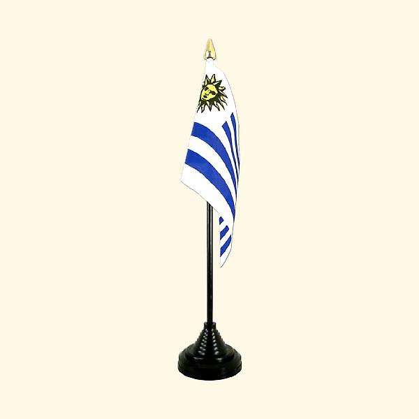Uraguay Table Flag with Stick and Base