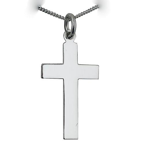 9ct White Gold 24x14mm Plain Flat Latin Cross with a curb chain