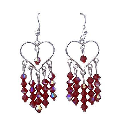 AB Siam Swarovski Crystal Heart Silver Heart Chandelier Earrings