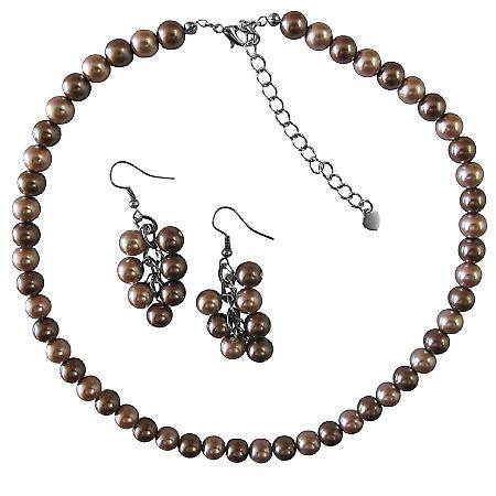 Grape Bunch Earrings Champagne & Bronze Pearls Wedding Jewelry Set