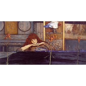 I låse døra på meg selv, Fernand Khnopff, 80x40cm