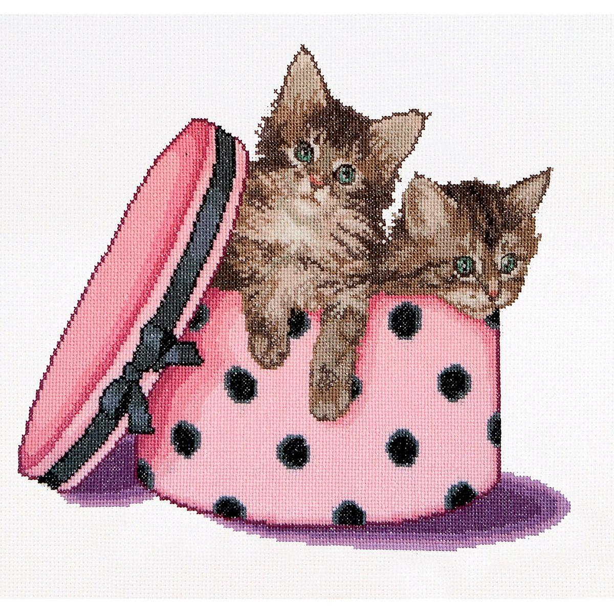 Kitten Twins On Aida Counted Cross Stitch Kit-12.25& 034;X11.75& 034; 16 Count