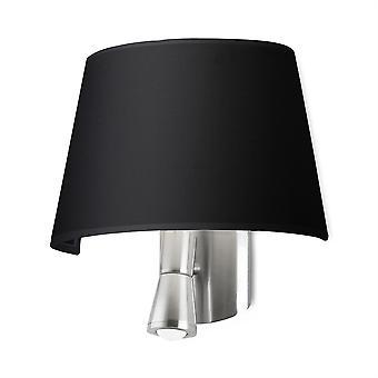 Balmoral Satin Nickel Wall Lamp With Black Shade - Leds-C4 05-2814-81-05