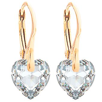 Ah! Jewellery 24K Gold Vermeil Over Sterling Silver 10mm Crystals From Swarovski Heart Earrings