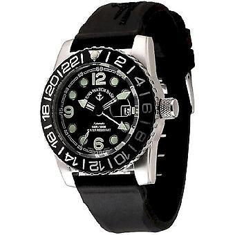 Zeno-watch montre plongeur avion automatique pointe noire 6349GMT-3-a1