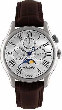 Rotary Mens Stainless Steel Moonphase Brown Leather GS02838/01 Watch