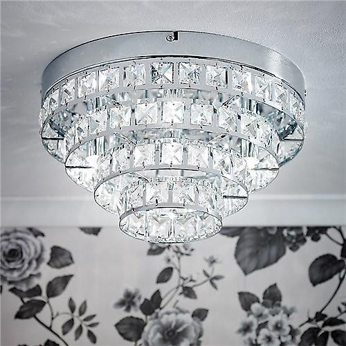 Endon MOTOWN-4CH Motown Modern Chrome Stepped Flush Crystal Ceiling Light