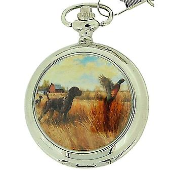 Boxx Gents White Dial Hunting Pocket Watch on 12 Inch Chain Boxx91