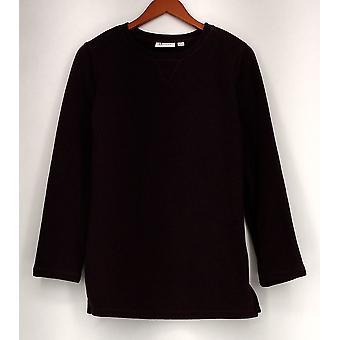 Denim & Co. Active lange mouw trui fleece Sweatshirt wijn rood A238334