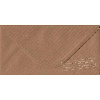 Brown Ribbed Gummed DL Coloured Brown Envelopes. 100gsm FSC Sustainable Paper. 110mm x 220mm. Banker Style Envelope.