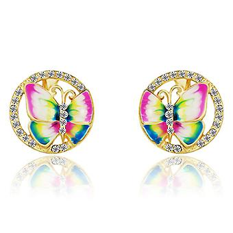 14K Gold Plated Encircled Butterfly Earrings