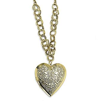 Fancy Lobster Closure Brass-tone Heart Locket 28 Inch Necklace