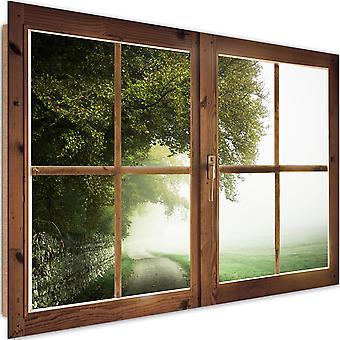Deco Panel, window - tree in the fog