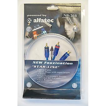 Alfatec MB-20B belechteter Y Adapter 1 Buchse 2 Stecker mit blauer LED
